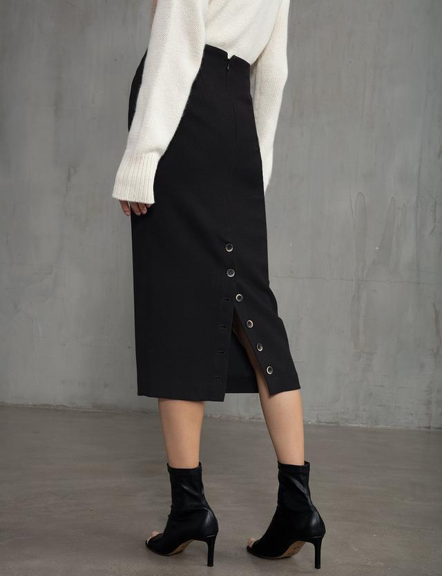 Pixie Market Black Button Back Pencil Skirt