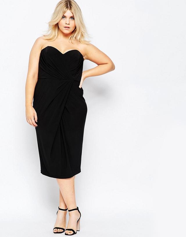 ASOS Curve Drape Hem Twist Bandeau Dress