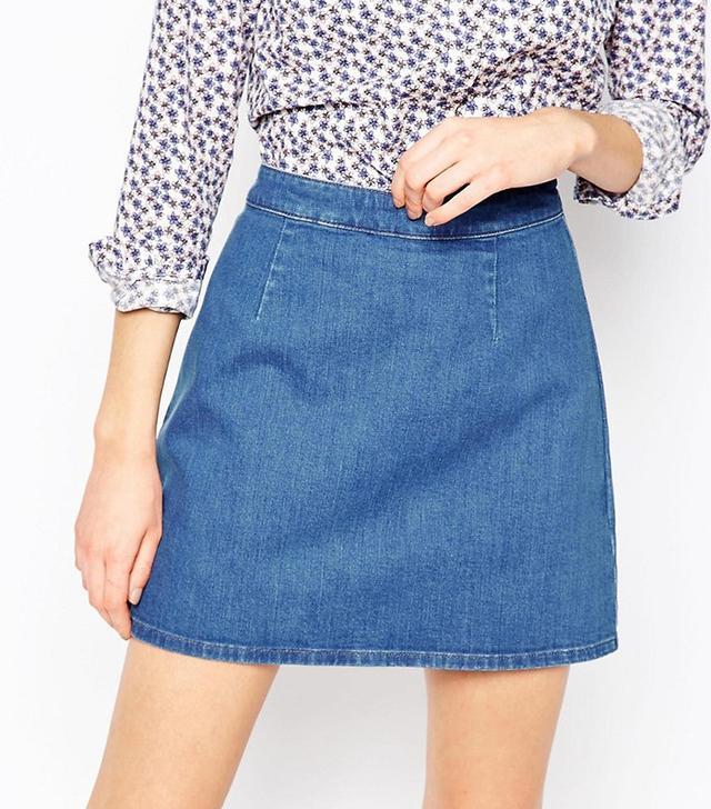 ASOS Denim A-Line Mini Skirt in Midwash Blue