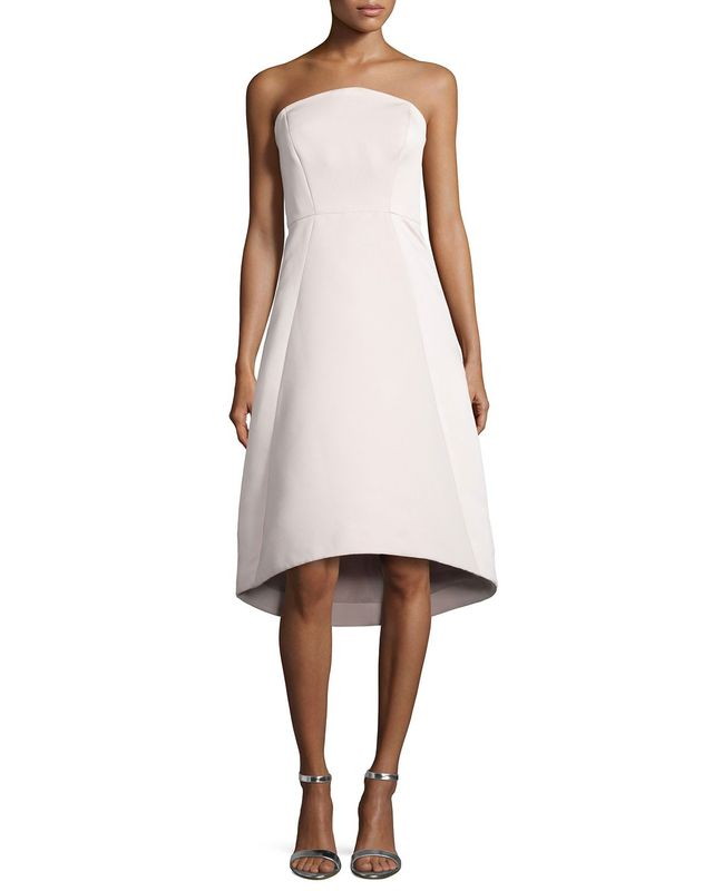Halston Heritage Strapless High-Low Cocktail Dress