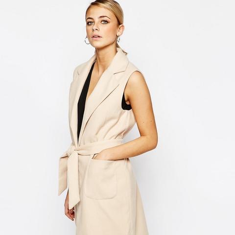 Belted Sleeveless Coat