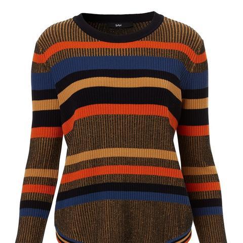 Fitted Stripe Rib Sweater