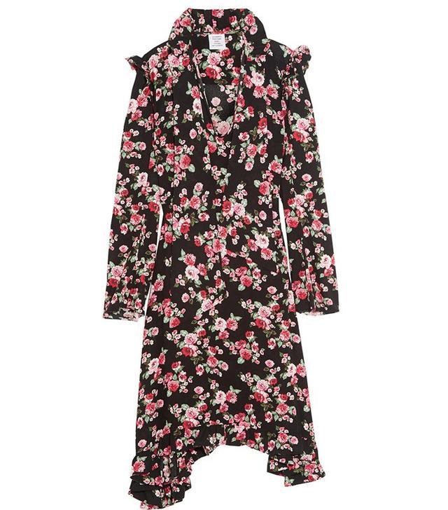 Vetements Ruffle-Trimmed Floral-Printe Crepe Midi Dress