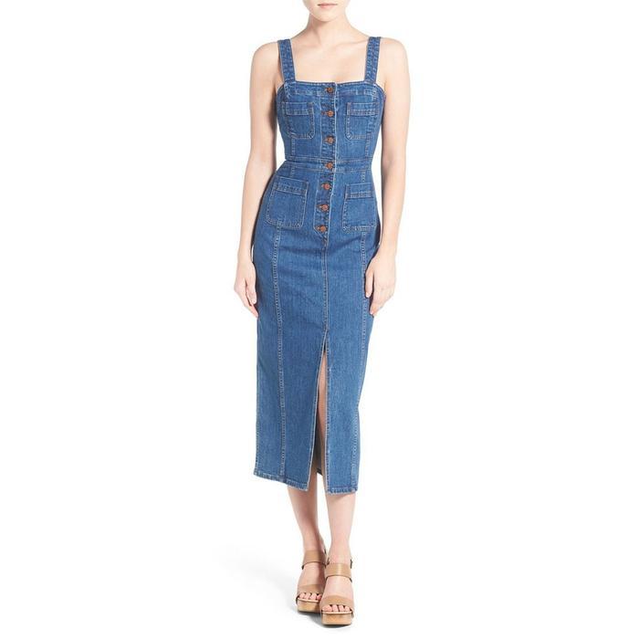 94217c6446 On Romee Strijd  Madewell Dungaree Denim Midi Dress ( 148)  Chanel bag.  Pinterest · Pinterest