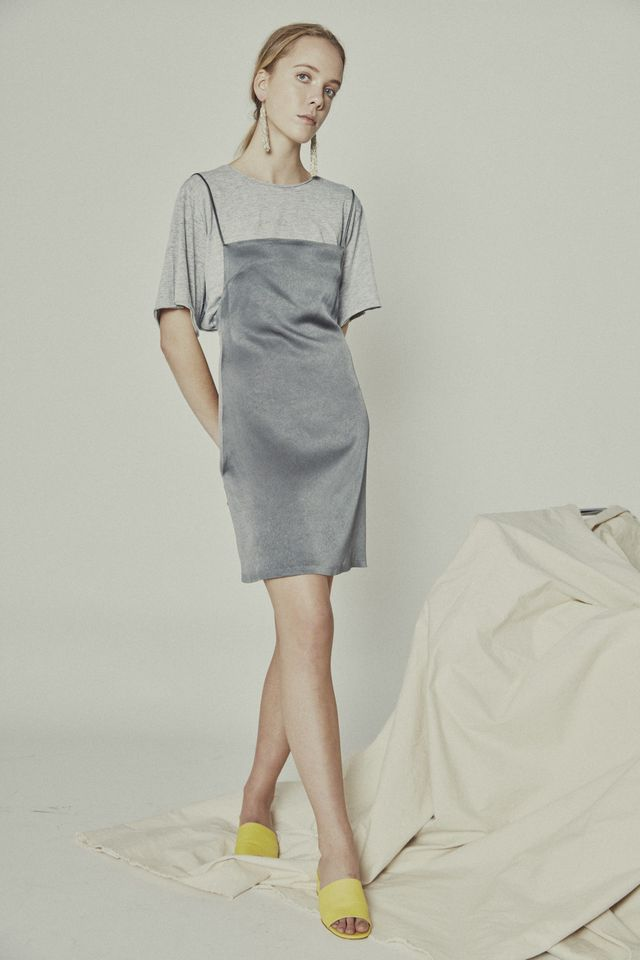 Make a night time dress work for day with a casual tee