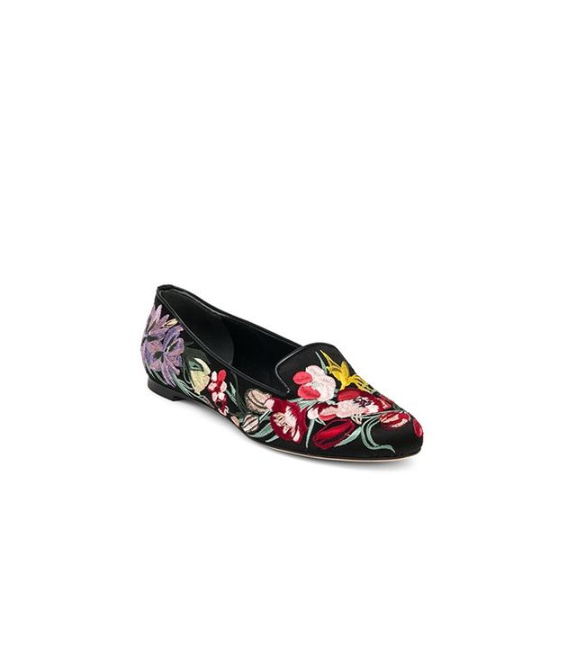 Alexander McQueen Floral-Embroidered Silk Satin Loafers