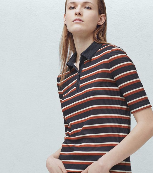 Mango Stripe Textured Polo Shirt