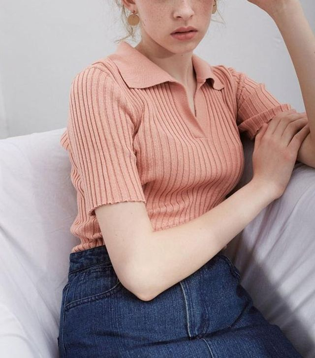 Genuine People Short Sleeve Collar Top