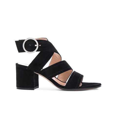 Suede Chunky Heel Strap Sandals
