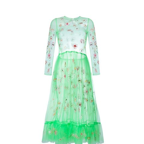 Floral Embroidered Tulle Dress