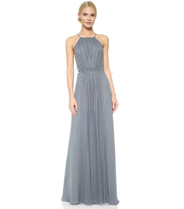 Monique Lhuillier Halter Dress with Tulle Panel