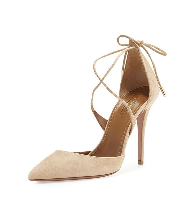 Aquazzura Matilde Suede Crisscross Pump in Nude