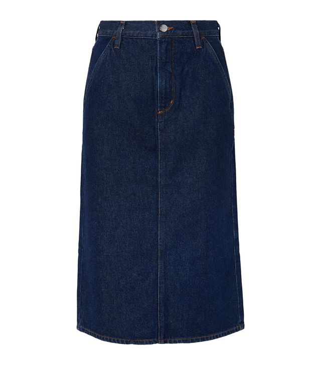 The Flat Front Denim Pencil Skirt