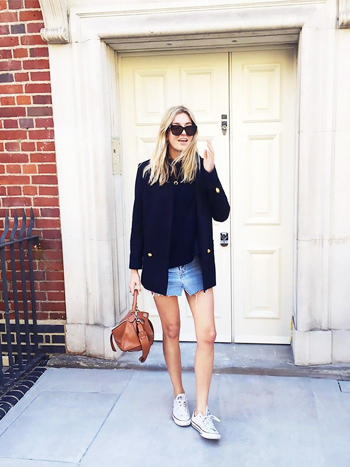 22ba2dbe8a9ae4 The Only Item You Need to Make a Denim Skirt Look Polished | Who What Wear
