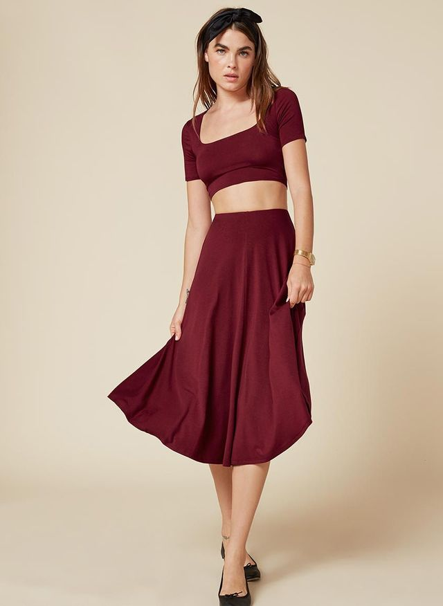 The Reformation Don Two Piece in Bordeaux