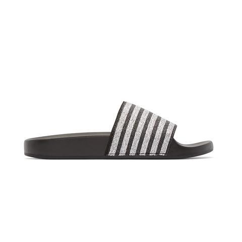 Black & Silver Textile Sandals