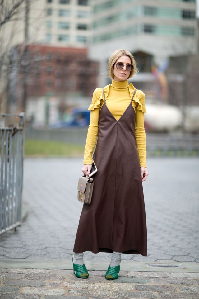 <p>How to wear your favourite summer outfit in winter? Add a turtleneck and socks.</p>