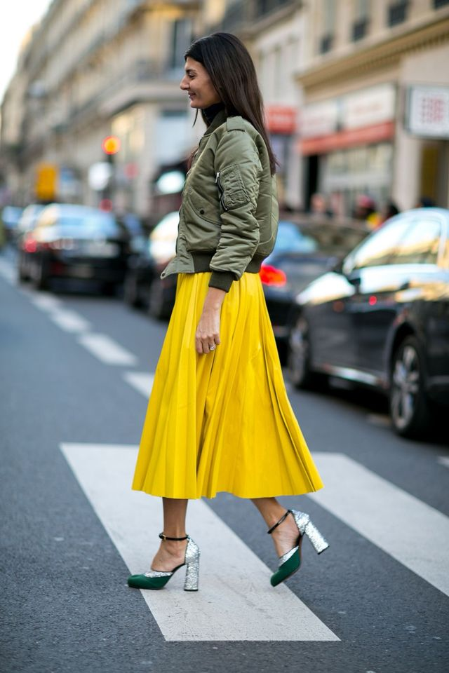 <p>How to get away with a skirt in winter? A thick turtleneck and bomber jacket will keep you warm up top, and make you forget about the cold.</p>