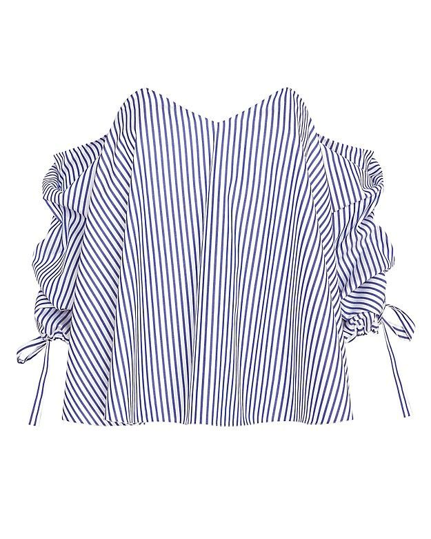 Caroline Constas Striped Poplin Off the Shoulder Blouse