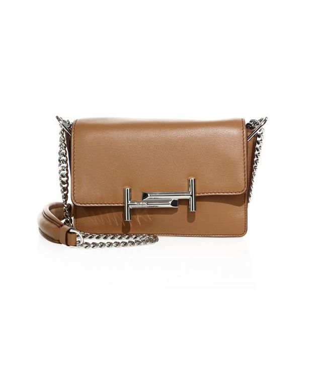 Tod's Double T Leather and Chain Shoulder Bag