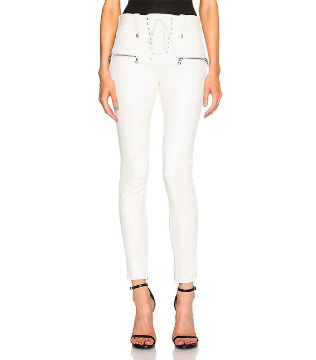 Unravel Lambskin Lace Up Skinny Pants