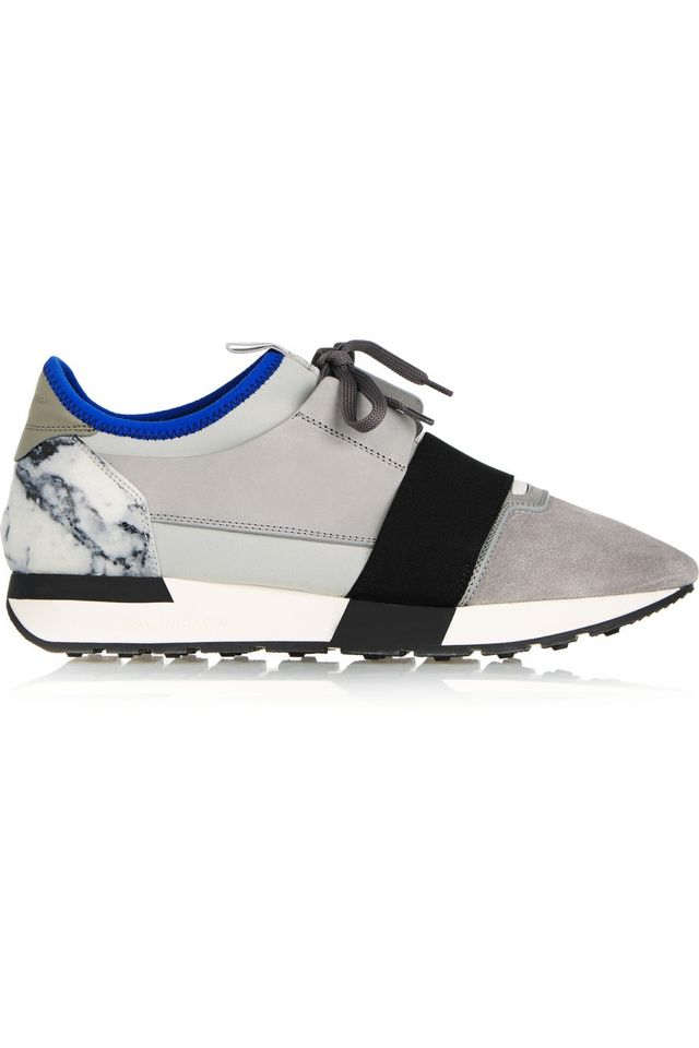 Balenciaga Race Runner Leather, Suede, and Neoprene Sneakers