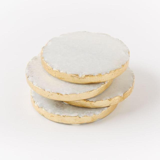 West Elm Round Stone Coasters - White/Gold (Set Of 4)