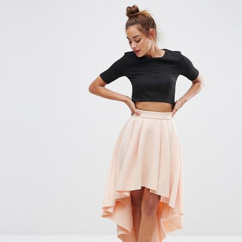 Premium Scuba High Low Skirt
