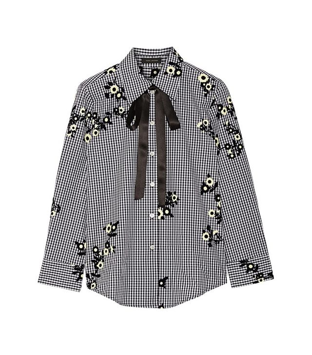 Marc Jacobs Pussy-Bow Flocked Gingham Shirt