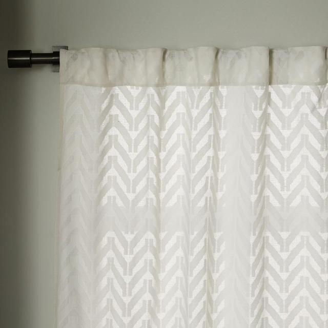 West Elm Sheer Chevron Curtain - White
