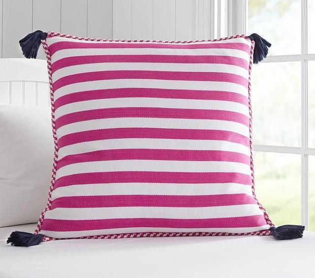 Pottery Barn Kids Large Stripe Tassel Cushion Cover
