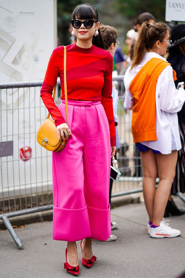 red and pink street style outfit