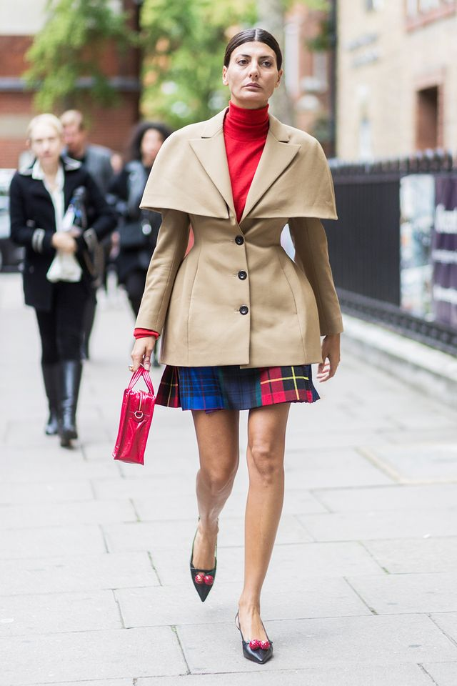 camel and red outfit, street style