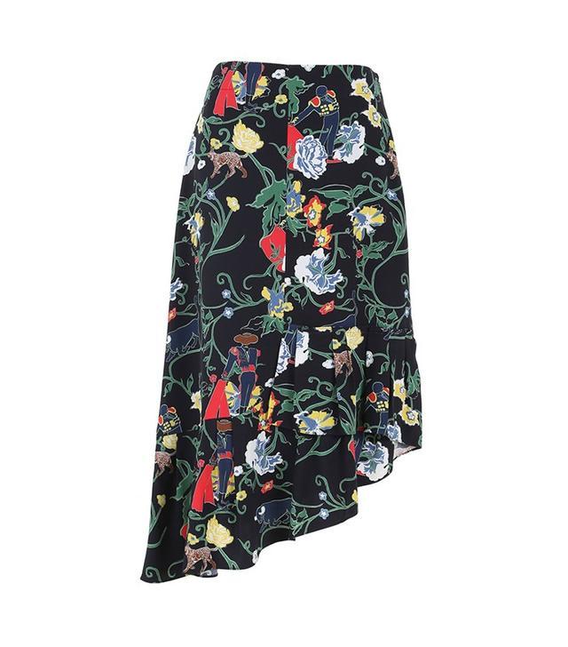 Tibi Seville Printed Asymmetrical Ruffle Skirt