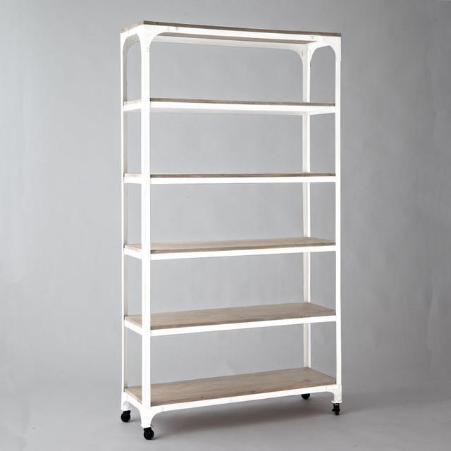 West Elm Whitewashed Wood + Metal Shelves