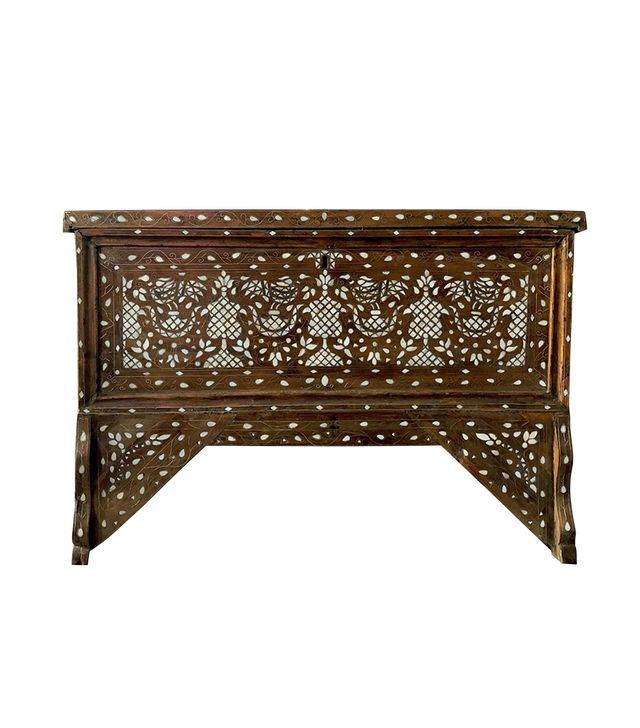 Chairish 19th Century Antique Syrian Mother of Pearl Inlay Wedding Trunk