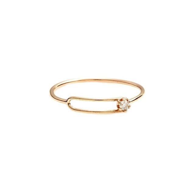 Sarah & Sebastian Small Oblong Ring WD, Gold
