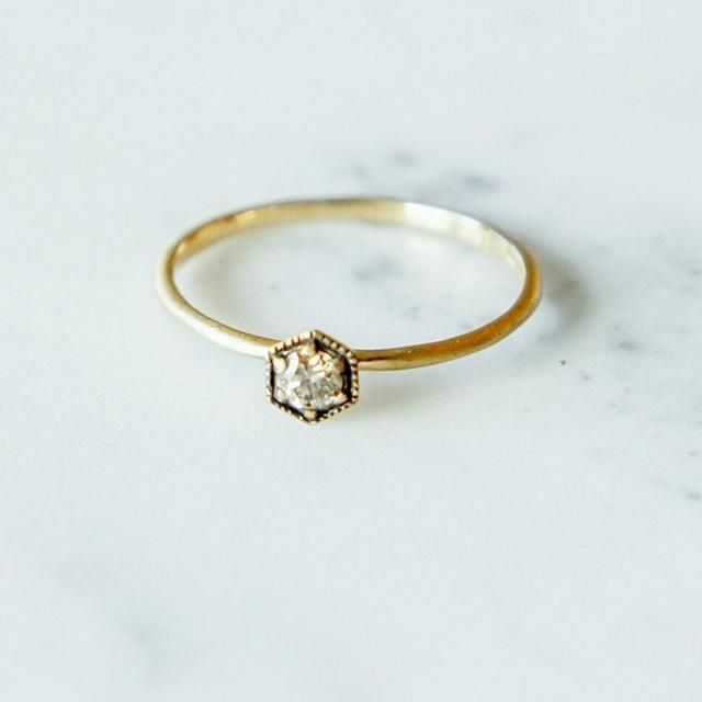 Satomi Kawakita Champagne Diamond Hexagon Ring