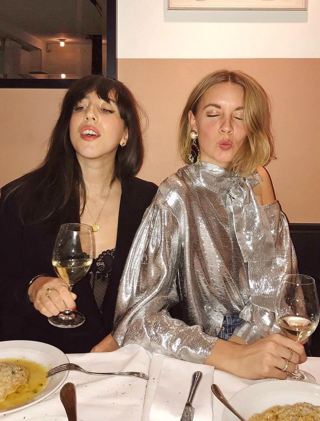What to wear on a night out: Hanna Stefansson wearing a silver blouse