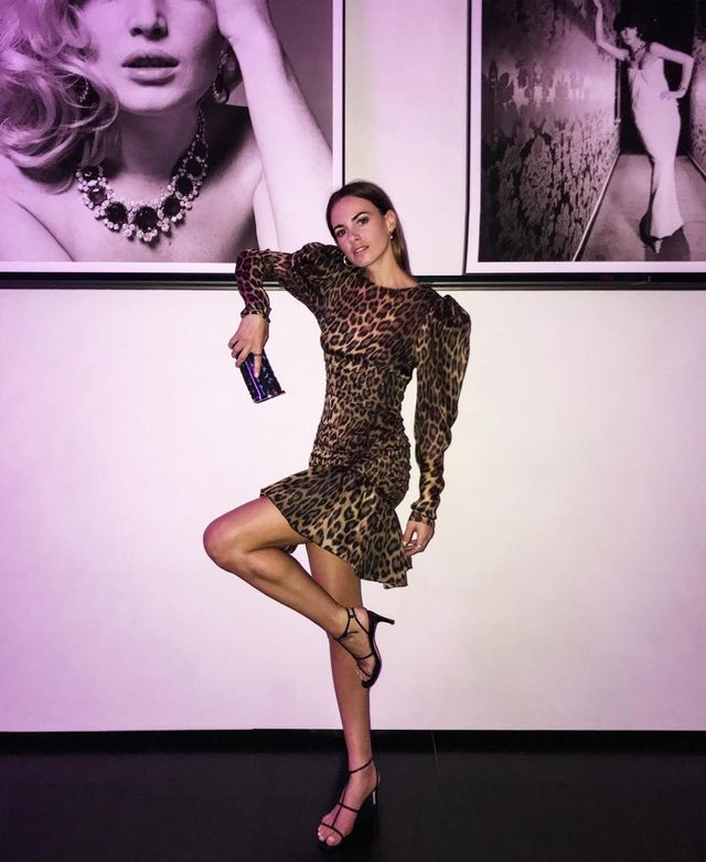 What to wear on a night out: Zina Charkoplia wearing a leopard print mini dress