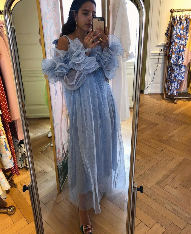 What to wear on a night out: Bettina Looney wearing a blue frilly tulle gown