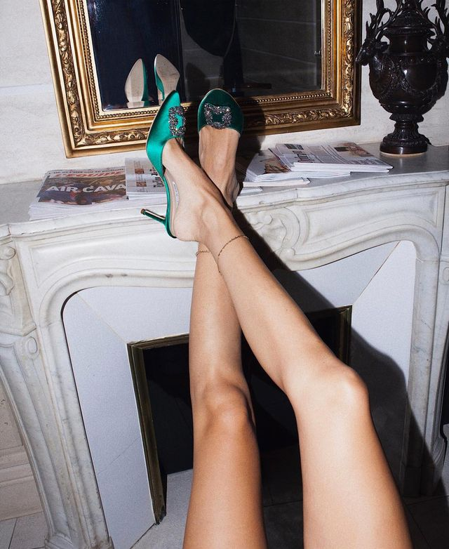 What to wear on a night out: Evangelie Smyrniotaki wearing Manolo Blahnik satin mules