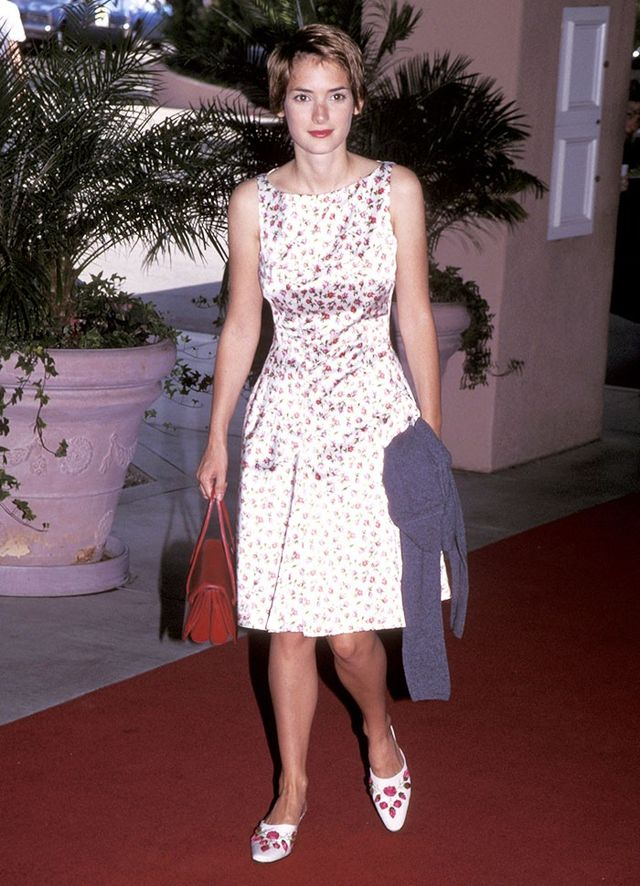 Winona Ryder wearing a floral dress