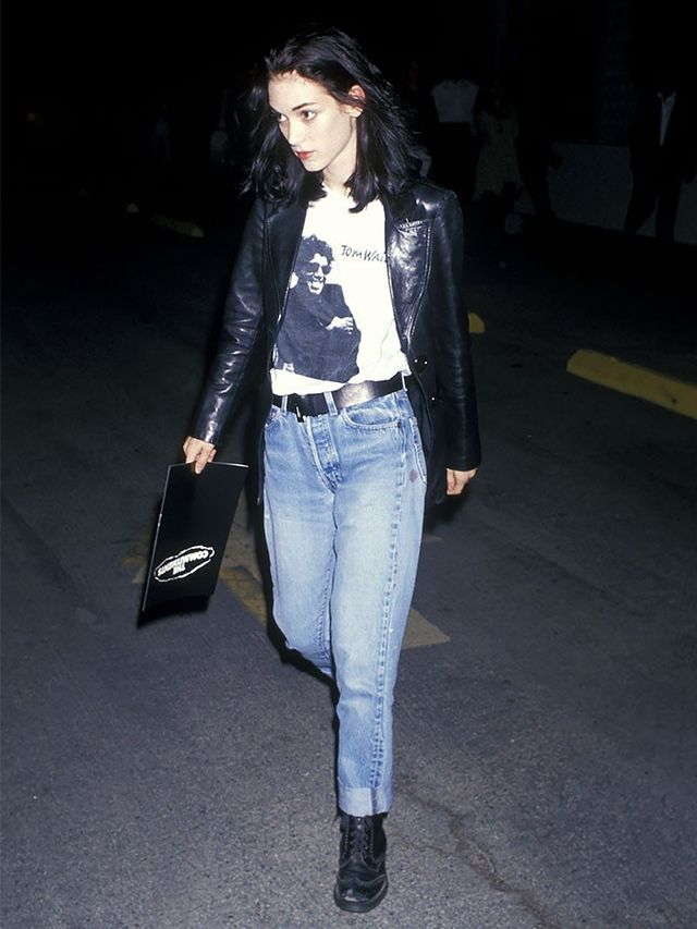 '90s Winona Ryder wearing a concert tee