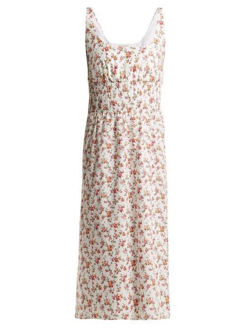 - Giovanna Floral Print Cotton Midi Dress - Womens - White Multi