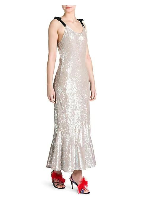 Sequin Flutter Maxi Slip Dress