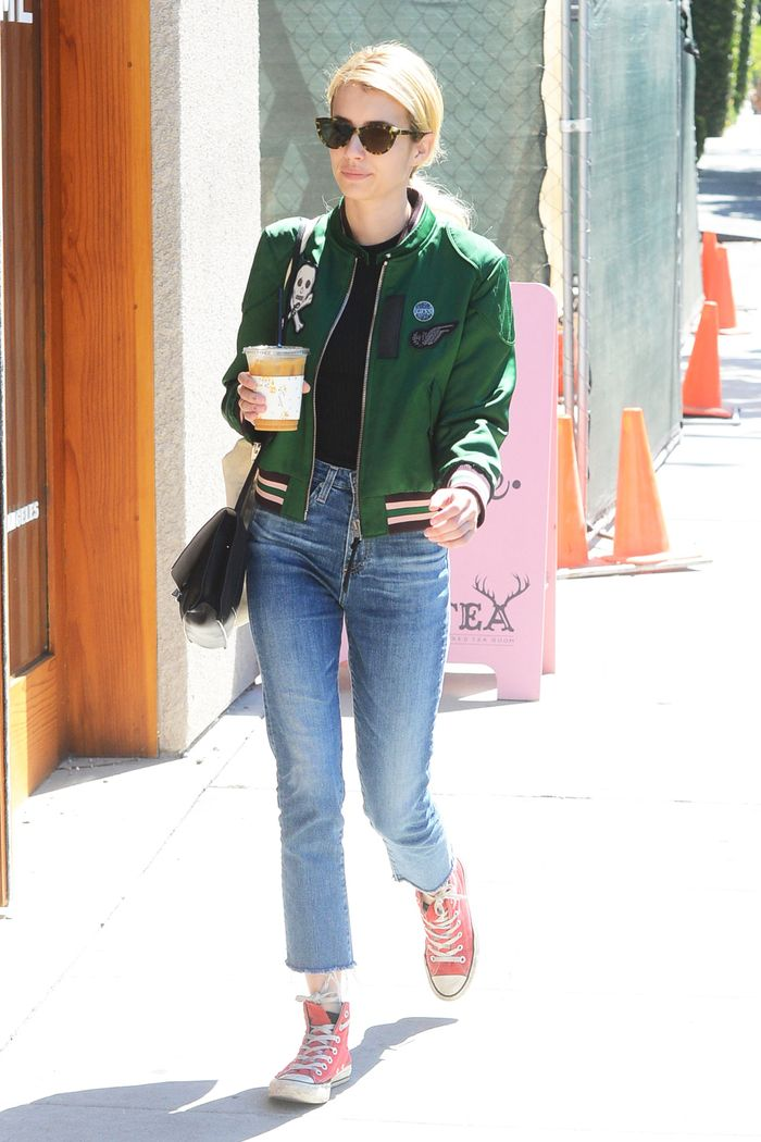 How Emma Roberts Took Her Varsity Jacket From Red Carpet to Coffee Run