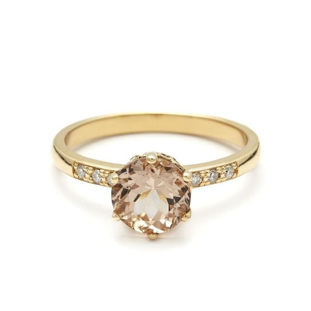 Anna Sheffield Hazeline Solitaire Ring Peach Morganite