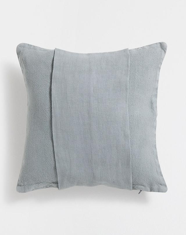Zara Home Green Banded Linen Cushion Cover