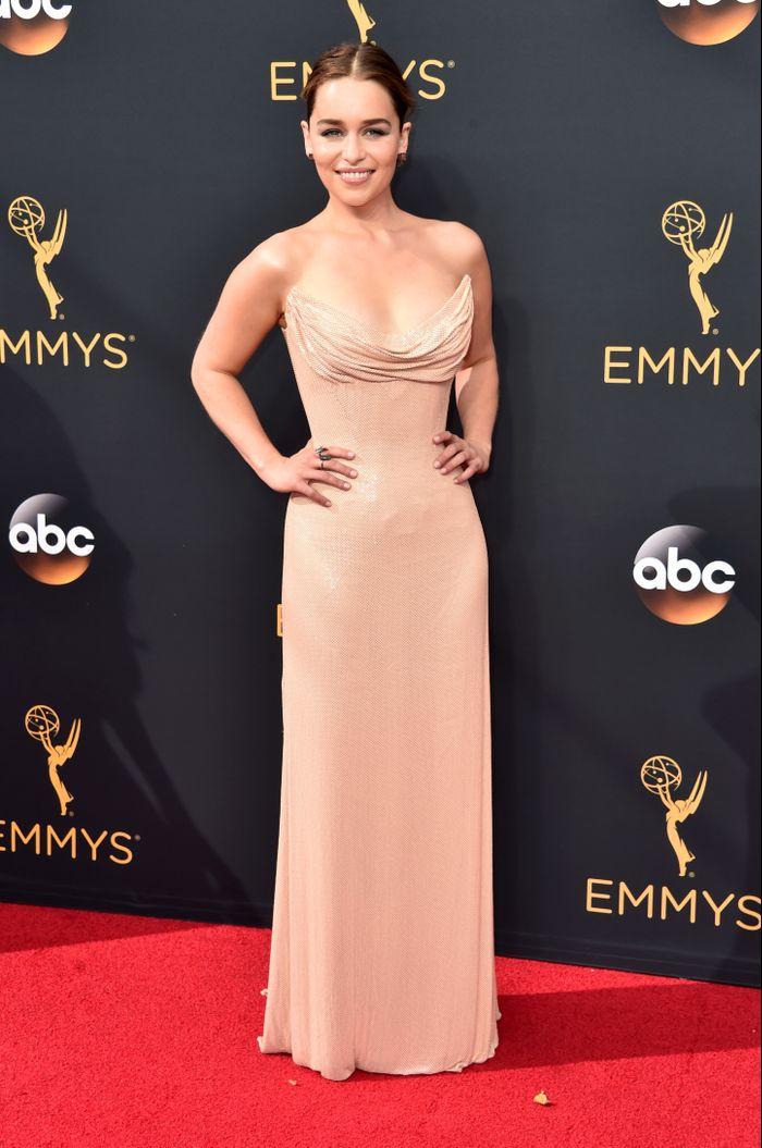 Emilia Clarke Wore the Classiest Version of the Naked Dress   Who ...